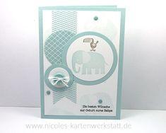 Stampin Up Babykarte blau, Zoo Babies