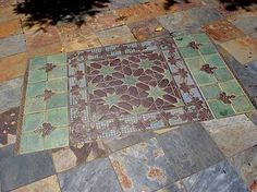 A combination of Turkish Floral and Moorish Star are brought together with custom Arts and Crafts glazes for this tile rug