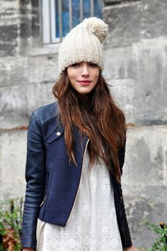This navy leather jacket and beanie make the perfect Fall outfit