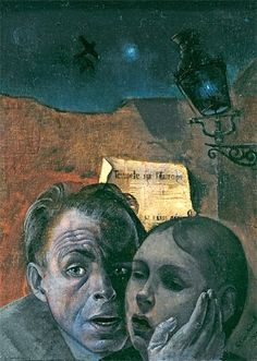 Felix Nussbaum - Fear     (Self-Portrait with his Niece Marianne) 1941      In 1944, Painter Felix Nussbaum, his parents, his wife and all other members of his family were all murdered in the Auschwitz concentration camp.