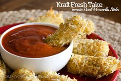 Baked Mozzarella Cheese Sticks. Use a mix of panko, dried Italian seasonings & grated Parmesan for coating.