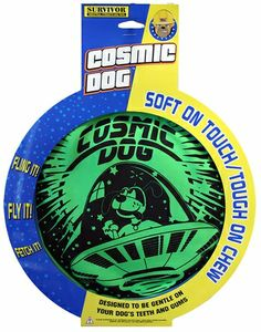Petsport Cosmic Dog Disk ($5.99) is a flying disk made especially for games of fetch with your dog. The Cosmic Dog Disk fidders from a normal frisbee in its unique texture that is soft but durable.