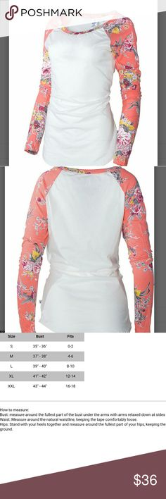 SPRING SALE(S, M,L) Peach Floral Raglan Tee A spring must have! Peach and Pink long sleeve Raglan tee.  See pic 3 for sizing.  100% cotton. venley Tops