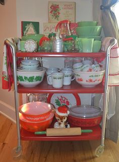 Cosco cart filled with vintage Christmas themed kitchen items