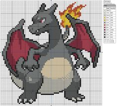 LIKE THIS PIXEL ART? Visit for more grids just like this! Pokemon, Zelda, Mario, and much much more! Please Credit my grids if you use them and then upl. Pokemon Cross Stitch, Dragon Cross Stitch, Cross Stitch Charts, Cross Stitch Designs, Cross Stitch Patterns, Cross Stitching, Cross Stitch Embroidery, Pixel Art, Pokemon Craft
