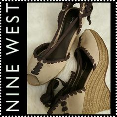 Nine West Espadrille Wedge Nine West Signature Wedges  Espadrilles, Peep Toe & Strappy Style, Leather Upper, Signs of Wear but Good Condition Nine West Shoes Wedges