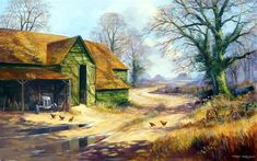 THE TRACTOR SHED acrylic on canvas 30 x 40 in SOLD  Terry Harrison