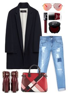 """Zara coat"" by thestyleartisan ❤ liked on Polyvore featuring Zara, Bebe, Tory Burch, Burberry, NARS Cosmetics and Victoria Beckham"