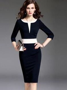 Sleeve Pencil Color Block Formal Women's Sheath Dress- On Sale Now - RishWish Sheath Dress, Dress Skirt, Dress Up, Bodycon Dress, Elegant Dresses, Formal Dresses, Prom Dresses, Mode Outfits, Classy Dress