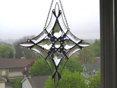 Stained Glass - Large Suncatcher - Window Treatment - French Crystals - Beveled Glass - Blue Glass Gems - Handcrafted - Made in USA by CreativeSpiritGlass on Etsy https://www.etsy.com/listing/189164028/stained-glass-large-suncatcher-window