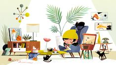 """chopsticksroad: """"Something for fun! Always inspired by Mid Century Modern goodness """" Children's Book Illustration, Character Illustration, My Tumblr, Childrens Books, Art For Kids, Character Design, Decoration, Drawings, Mid Century"""