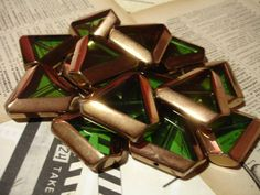 5 Green Gold-Edged Triangle Glass Beads. Win it today only on Tophatter.com!  http://tophatter.com/auctions/16526?campaign=all=internal