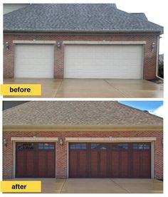 This homeowner replaced traditional raised panel steel doors with a more architecturally interesting steel garage door design. Clopay's Canyon Ridge Collection Ultra-Grain Series. The warm stain finish on these faux wood carriage house style garage doors brings the subtle tones in the red brick exterior to life. We also like the choice of arched windows to open up the space. Installation by Barron Equipment Company in Davenport, IA. www.clopaydoor.com