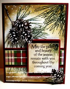 Stamping with Julie Gearinger: IC463 Ornamental Pine #3- A Vintage Masculine Style :-) Stampin' Up! card using Ornamental Pine for the CCC14 Christmas Card Challenge along with the IC463 Inspiration Challenge :-)