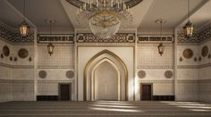 El Zaidan mosque is located in Damam , KSA .Interior design and architectural visualization by me using autocad - max - vray - photoshop .For hamed bn hamri office Mosque Architecture, Interior Architecture, Bridal Boutique Interior, Jewelry Store Design, Lobby Interior, Beautiful Mosques, Prayer Room, Moroccan Design, Grand Mosque