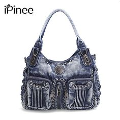 iPinee 2017 Fashion Women Bag Denim Handbag Large Capacity Blue Shoulder Bag Weave Women Messenger Bags-in Shoulder Bags from Luggage & Bags on Aliexpress.com | Alibaba Group