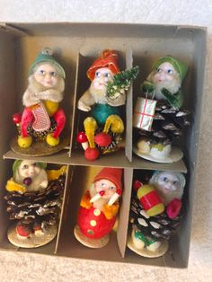 Vintage Christmas Shiny Brite PINE CONE & CHENILLE Dwarfs in Original Box by crazy4me