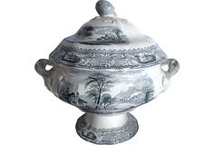 19th-C. Large Transferware Soup Tureen Gray and white transfer-printed in the Lucerne pattern (printed in the mark)