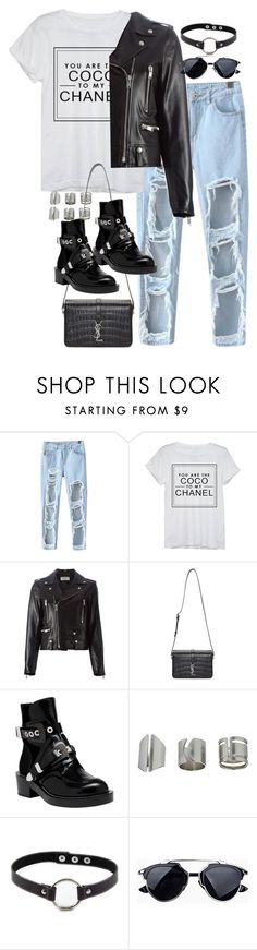 """Sin título #1122"" by osnapitzvic ❤ liked on Polyvore featuring Chicnova Fashion, Chanel, Yves Saint Laurent, Balenciaga, Topshop and Retrò"