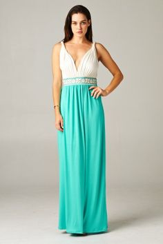 White & Mint Maxi Dress with Embrodiery by WinkCouture on Etsy, $62.00