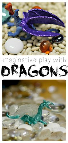 A simple dragon small world set up that led to HOURS of imaginative play in preschool!  Lots of language and learning through play.
