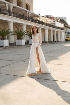 The Lorelei wedding dress from Mila Bridal features a lace crop top and flowy chiffon skirt. These separates can even be made as one piece! If you're searching for a stunning versatile look, this style is the one for you! #weddingdress #twopiecedress #weddinggown #simpleweddingdress