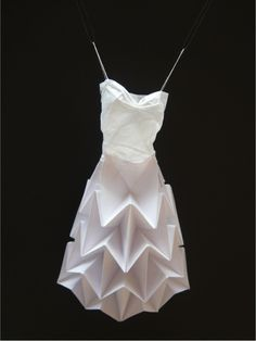 Textile Art Paper Dress - glide reflection folded paper skirt and hand sewn tissue paper bodice - lucydorothy.com