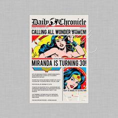 Superhero/Wonder Woman Newspaper Birthday by DesignsbyCassieCM