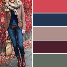 My ideal fall colors, plus black Colour Combinations Fashion, Color Combinations For Clothes, Fashion Colours, Colorful Fashion, Color Combos, Fall Color Palette, Colour Pallete, Mode Inspiration, Color Inspiration