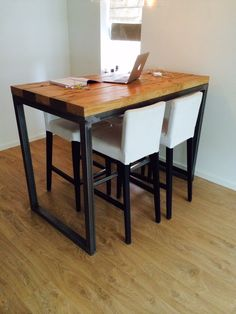 Bar table. Industrial look. With special coating to protect to top layer of the deck. € 295,-