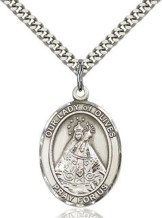 Sterling Silver Our Lady of Olives Medal. Comes Deluxe Gift Boxed with Stainless Silver Heavy Curb Chain. Religious Jewelry, Round Pendant, Stainless Steel Chain, Selling Jewelry, Silver Rounds, Our Lady, Sterling Silver Pendants, Silver Jewelry, Pendant Necklace