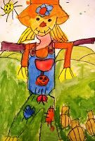 Colorwheel Scarecrows - great idea for 2nd grade mixing colors