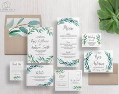 Wedding Invitation Suite   Eucalyptus Invitation   Leaf   Greenery   Wreath   Leaves   Invitation Set   Piper Suite