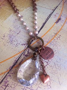 Love and Be Loved Vintage Chandelier Crystal Drop Necklace with Copper Puff Heart  t on Etsy, $48.00