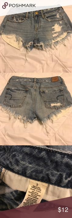 American Eagle Shorties Size 2 Regular   Distress Design   100% Cotton   American Eagle Outfitters Shorts Jean Shorts