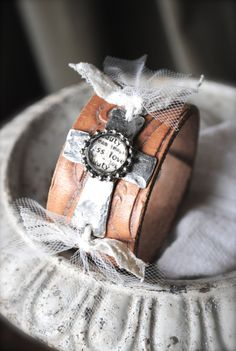 Metal & Soldered Cross on Leather cuff bracelet by artifexinme