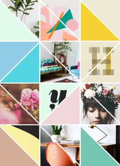 I love the triangle, geometric collage and I also love the use of bright colors and neutrals mixed together