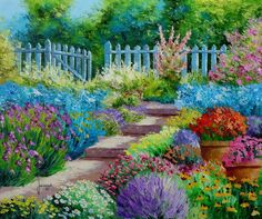 """""""Garden Flowers""""  ~~  Oil Painting by French self-taught Painter ~Jean-Marc JANIACZYK~"""