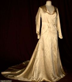 Silk Satin Wedding Gown & Shoes, 1932, Augusta Auctions, March 30, 2011 - St. Pauls, Lot 265