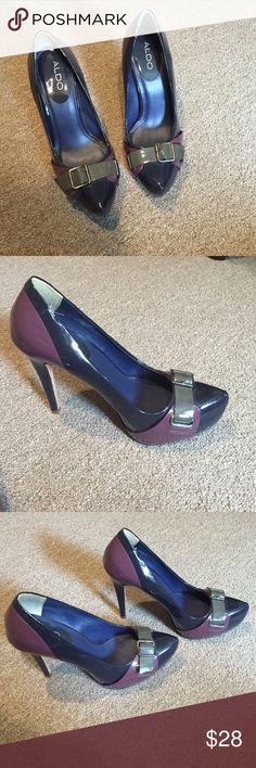 8d10dcac1bf Aldo Patent Leather Color Block Heels Color block patent leather jn navy  blue purple