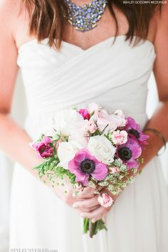 Beach Chic Bridal Bouquet - Purple, Pink, and White with Greenery ~ Ashley Goodwin Weddings