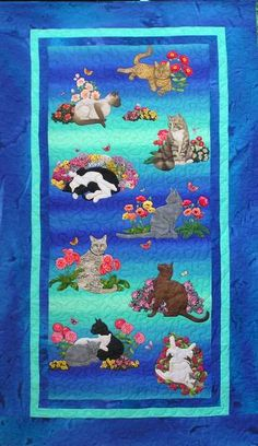 Cats in the Garden by Sonya Prchal. Commission, cat portrait quilt.