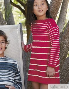 Revista Niños 85 Primavera / Verano   40: Niños Vestido   Rojo / Crudo