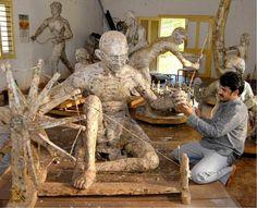 Contemporary work: A papier mache Gandhi PHOTO: K.R. DEEPAK