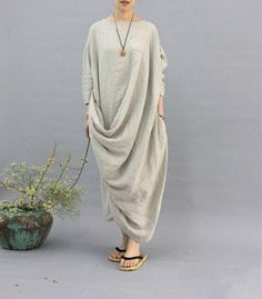 100% linen kaftan,extravagant long dress, holiday trip,women linen maxi dress, asymmetry robe dress