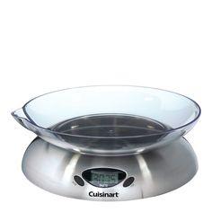 En elektrisk köksvåg från Cuisinart. Vågen väger allt mellan 1 gram och 5 kg. Hushållsvågen har en design som förgyller köket, med en borstad rostfri yta.