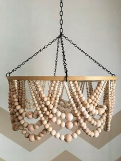 Wooden Bead Chandelier, Beaded Mobile, Wood Shade - All For Decoration Wooden Hoop, Wooden Diy, Wooden Beads, Wood Bead Chandelier, Handmade Chandelier, Chandelier Ideas, Simple Chandelier, Outdoor Chandelier, Lamp Cord