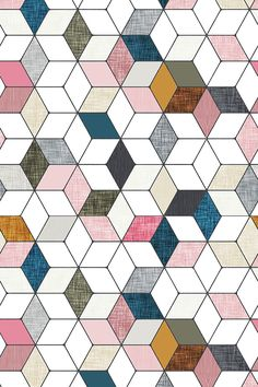 Hexo pink - Pink, teal, silver, mauve, and mustard hexagon pattern by nouveau_bohemian.  Available in fabric, gift wrap, and wallpaper.