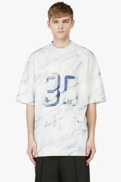 JUUN.J White & Blue Oversize Printed Neoprene T-Shirt