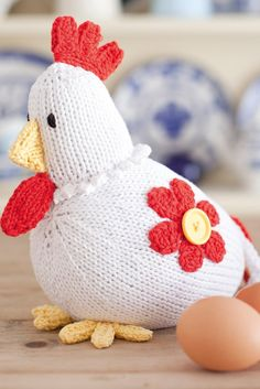Give this rustic-style chicken a good home. This knitting pattern chook'll look…